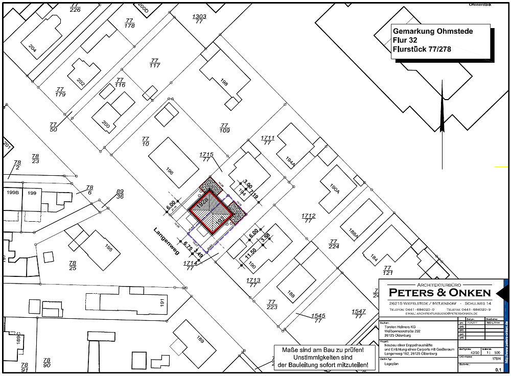 Lageplan Langenweg 192 und 192a